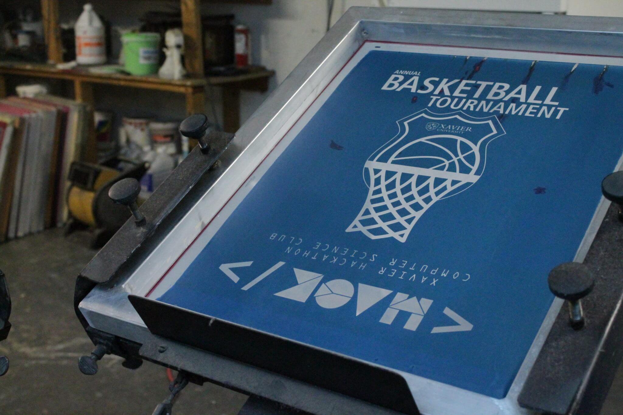 Custom designed t-shirt screen for basketball team